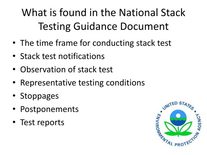 What is found in the National Stack Testing Guidance Document