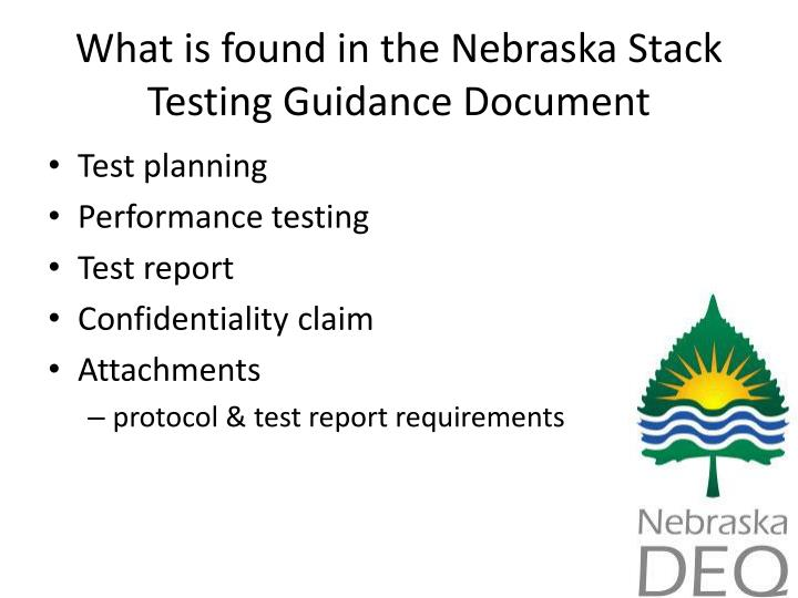 What is found in the Nebraska Stack Testing Guidance Document