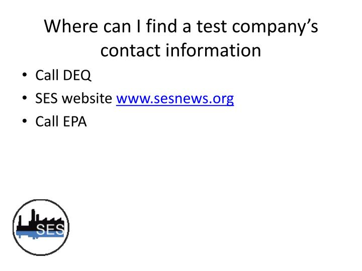 Where can I find a test company's contact information