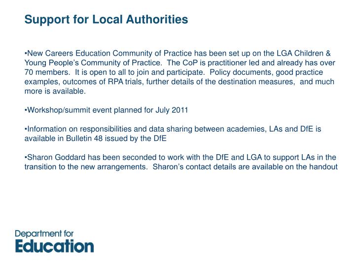 Support for Local Authorities