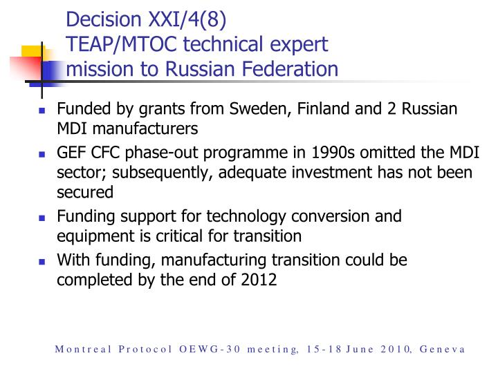 Decision XXI/4(8)