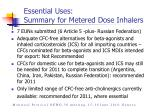 essential uses summary for metered dose inhalers
