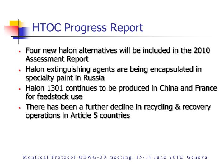 HTOC Progress Report