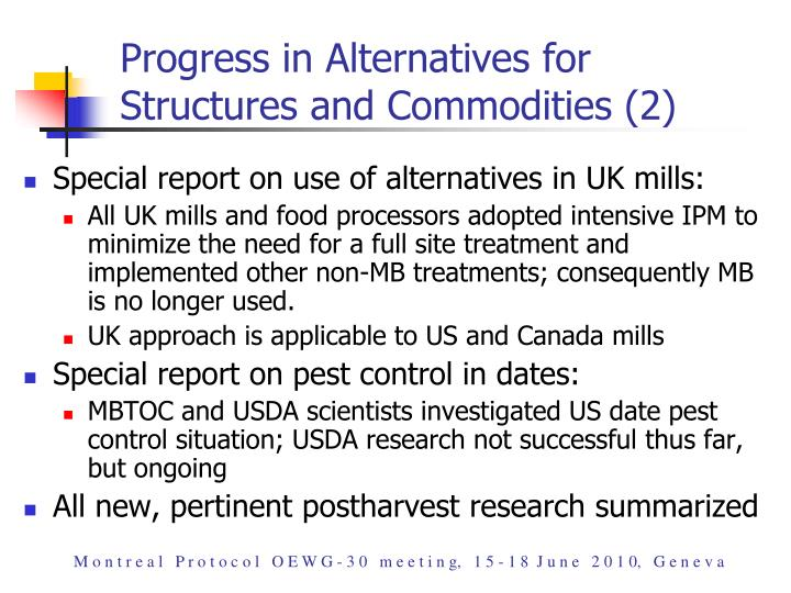 Progress in Alternatives for Structures and Commodities (2)