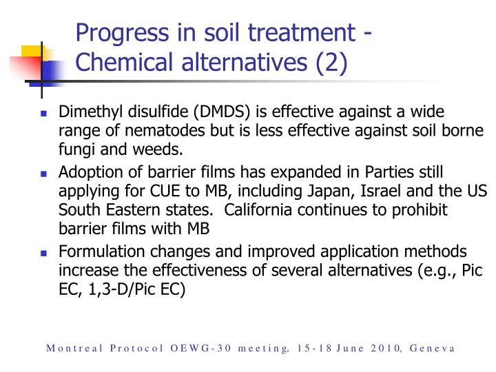 Progress in soil treatment -