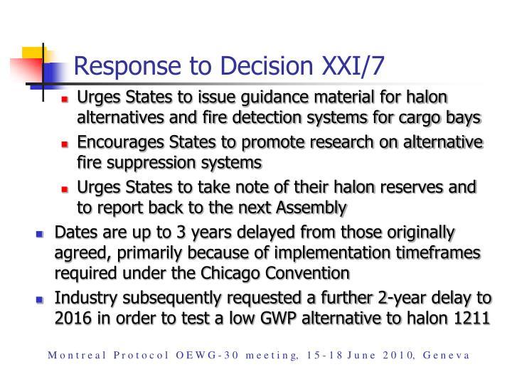 Response to Decision XXI/7