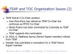 teap and toc organisation issues 2