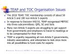 teap and toc organisation issues