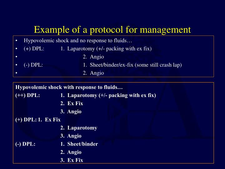 Example of a protocol for management