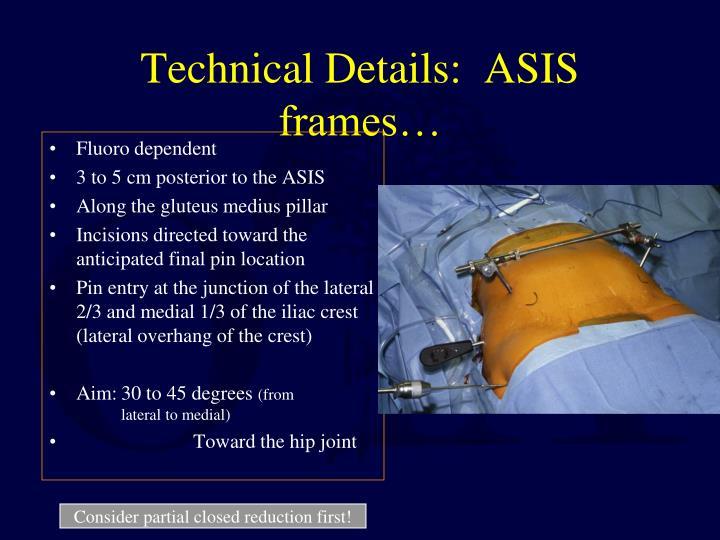 Technical Details:  ASIS frames…