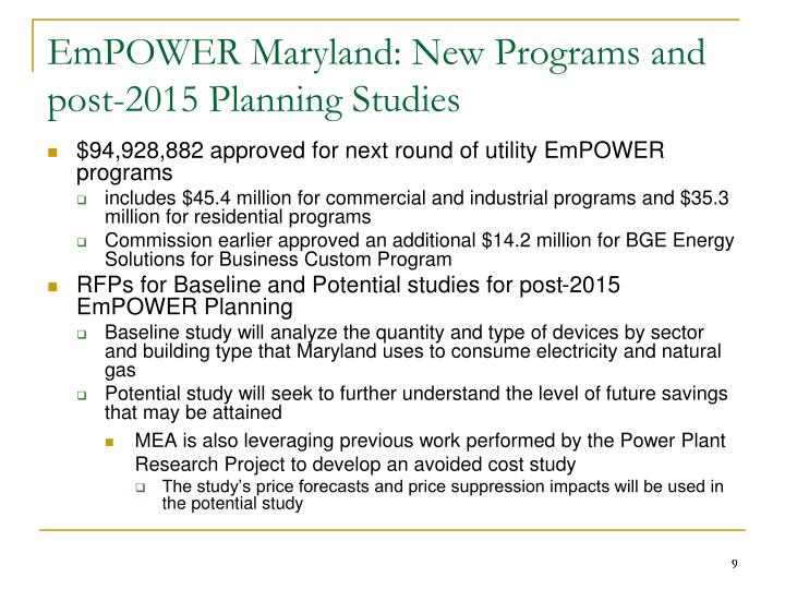 EmPOWER Maryland: New Programs and post-2015 Planning Studies