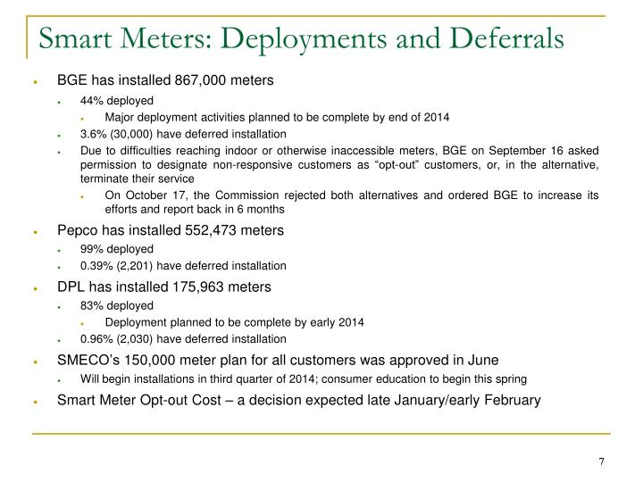 Smart Meters: Deployments and Deferrals