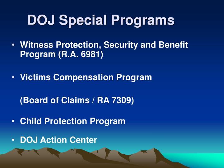DOJ Special Programs