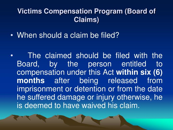 Victims Compensation Program (Board of Claims)