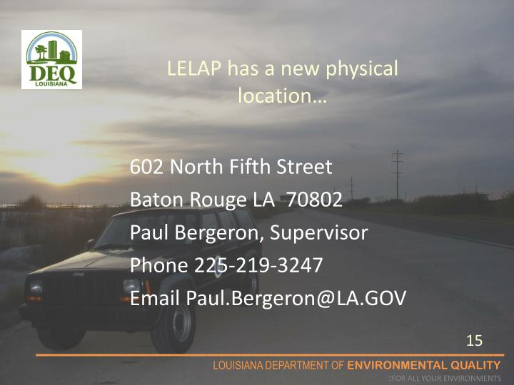 LELAP has a new physical location…