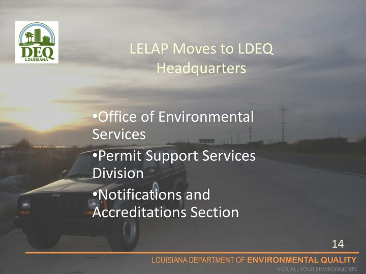LELAP Moves to LDEQ Headquarters