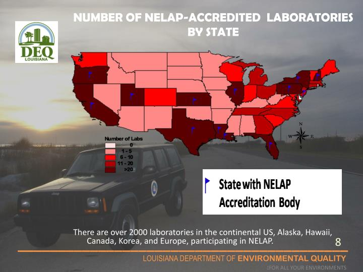 NUMBER OF NELAP-ACCREDITED  LABORATORIES BY STATE