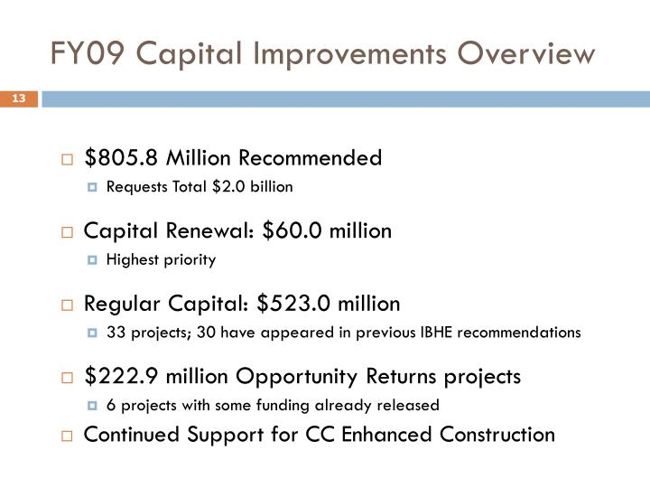 FY09 Capital Improvements Overview