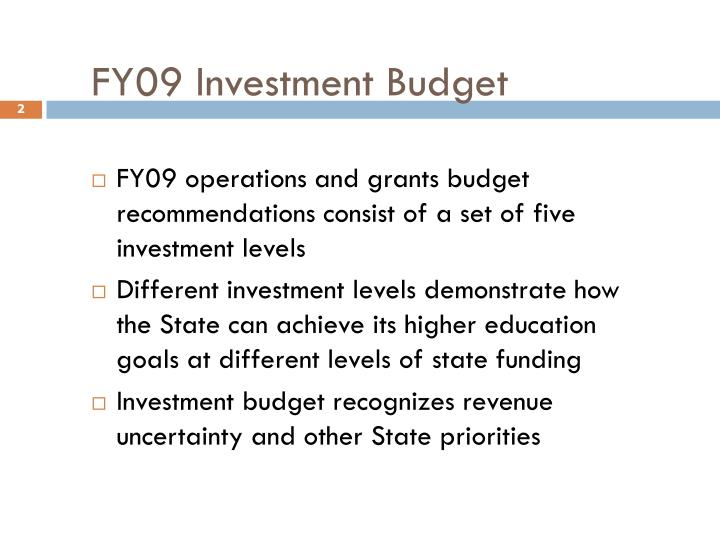 Fy09 investment budget