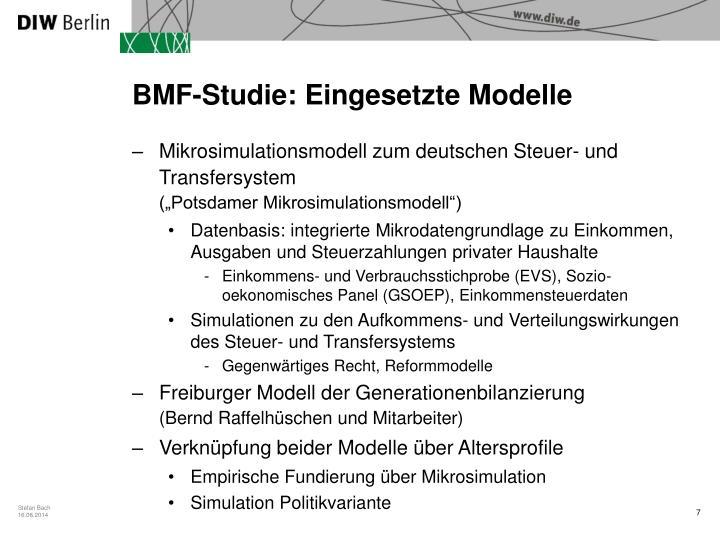 BMF-Studie: Eingesetzte Modelle