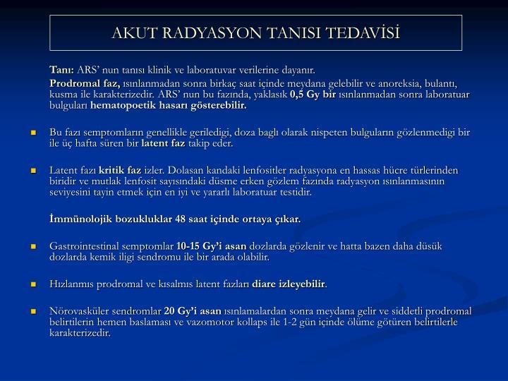AKUT RADYASYON TANISI TEDAVS