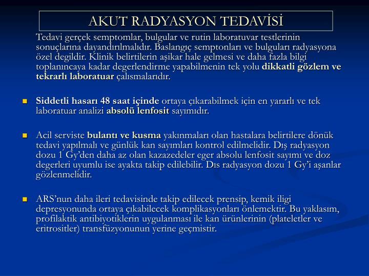 AKUT RADYASYON TEDAVS