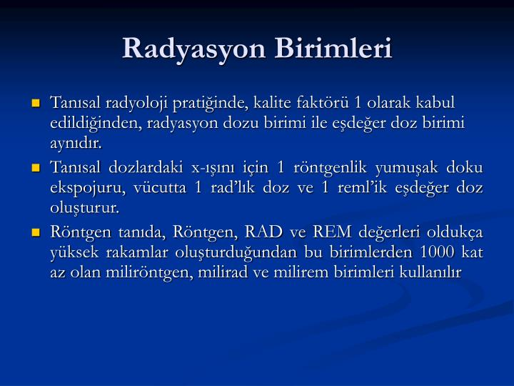 Radyasyon Birimleri