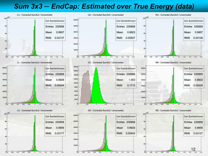 Sum 3x3 ─ EndCap: Estimated over True Energy (data)