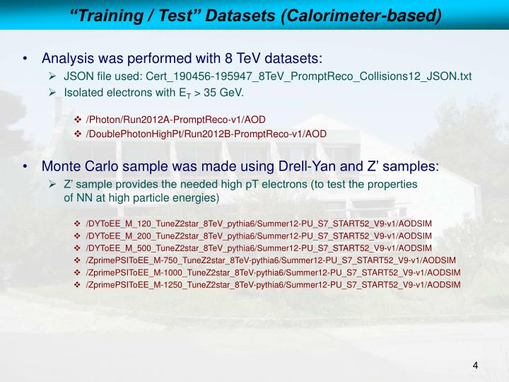 """Training / Test"" Datasets (Calorimeter-based)"