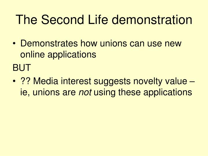 The Second Life demonstration
