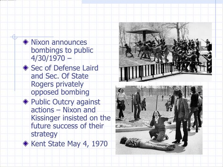 Nixon announces bombings to public 4/30/1970 –