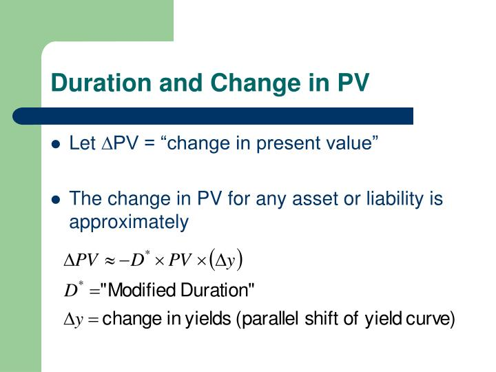 Duration and Change in PV