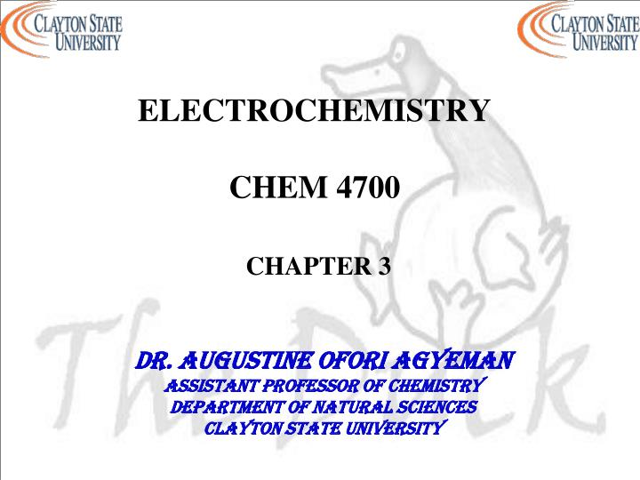 Electrochemistry chem 4700 chapter 3