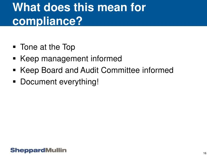 What does this mean for compliance?