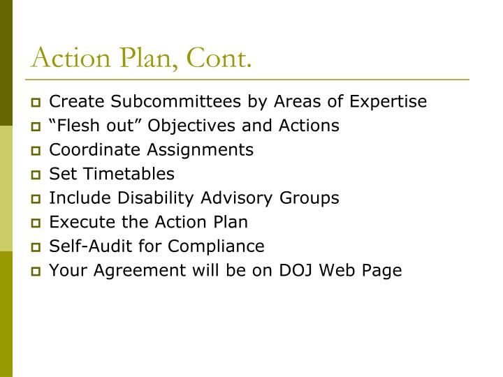 Action Plan, Cont.