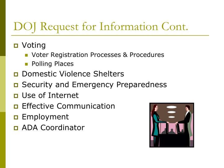 DOJ Request for Information Cont.