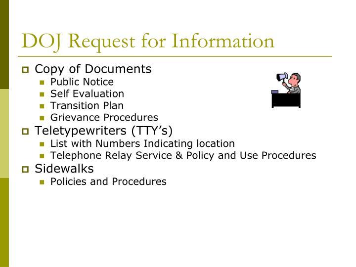 DOJ Request for Information