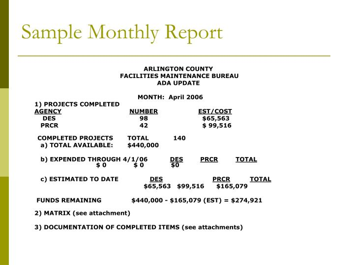Sample Monthly Report