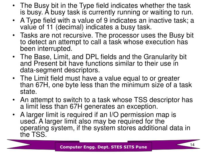 The Busy bit in the Type field indicates whether the task is busy. A busy task is currently running or waiting to run.