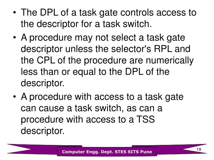 The DPL of a task gate controls access to the descriptor for a task switch.