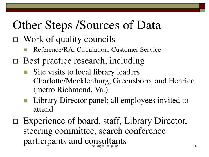 Other Steps /Sources of Data