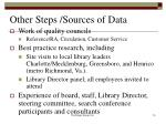 other steps sources of data