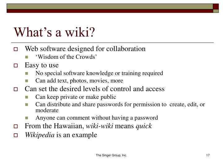 What's a wiki?