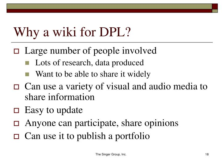 Why a wiki for DPL?