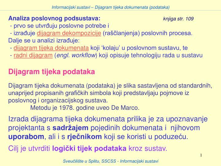 Informacijski sustavi – Dijagram tijeka dokumenata (podataka)