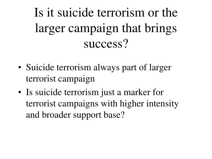 Is it suicide terrorism or the larger campaign that brings success?
