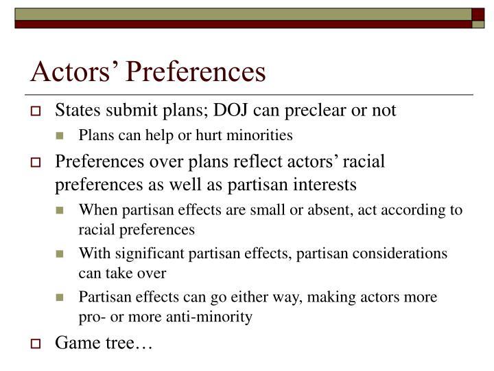Actors' Preferences
