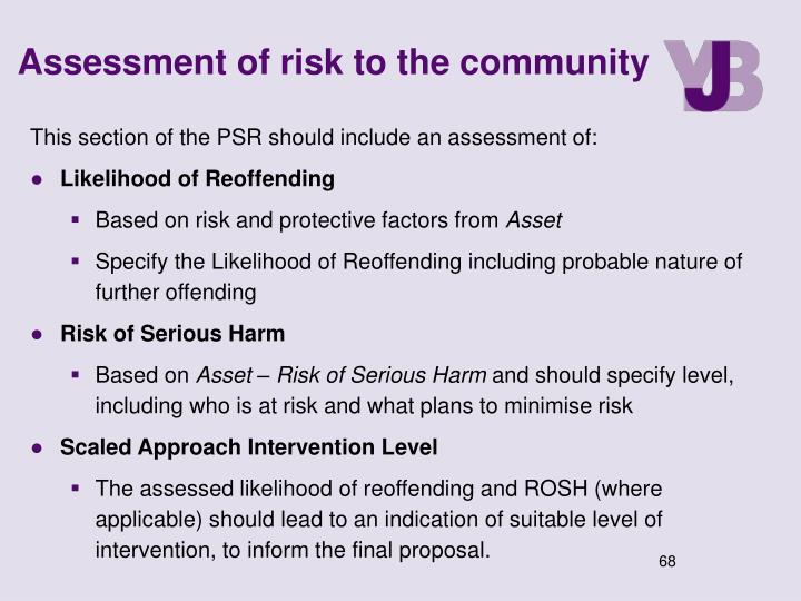 Assessment of risk to the community
