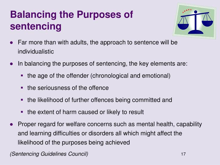 Balancing the Purposes of sentencing