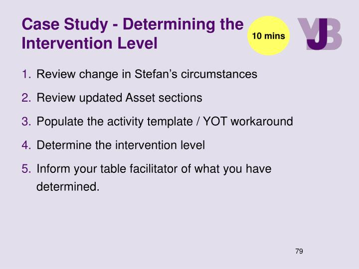 Case Study - Determining the Intervention Level